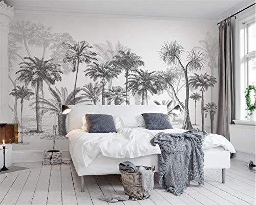 jidan Tapete Schwarzweiss Großer Baum Tropischen Regenwald Kokosnuss-Baum-modernes TV Sofa Hintergrund Wand 3D Wallpaper