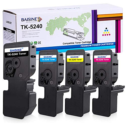 BAISINE Toner Kompatibel Kyocera Ecosys M5526cdw Ersatz für Kyocera TK-5240 TK-5240K TK-5240C TK-5240Y TK-5240M Toner für ECOSYS M5526cdn M5526cdw P5026cdn P5026cdw (4-Pack, Schwarz Cyan Gelb Magenta)