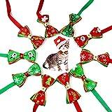 WELLXUNK® Collar de Navidad Perro, Pajarita de Mascotas de Navidad, Collar de Navidad para Mascotas, Pajarita Navideña, Collares Ajustable con Lacitos Navideños para Cachorro y Gatit (B)