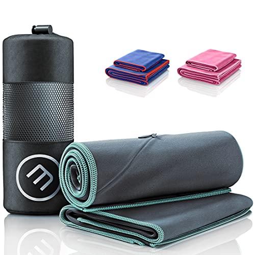 Set da 2 Asciugamani in Microfibra Blu + Astuccio per il Trasporto | Grande per Bagno Piccolo per Asciugarsi con Zip per Cellulare | Portatili Versatili Assorbenti | Sport Camping Spiaggia (Antracite)