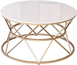 Simple Coffee Table, White Marble Top Metal Iron Frame, for Hotel, Dining Room, Living Room Furniture, Round, Gold,Home/Of...