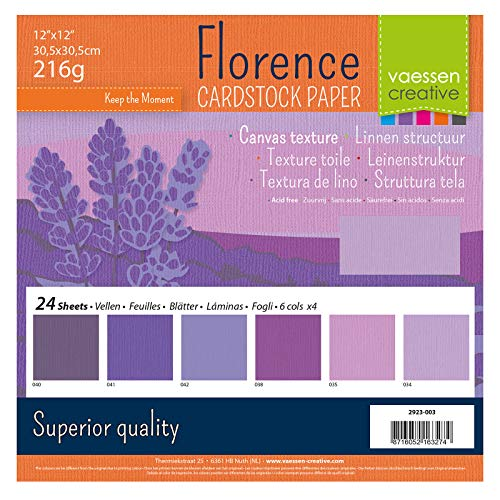 Vaessen Creative Florence Scrapbook-Papier 216 g 12x12-x24 Blatt-Multipack, violett, Paper, Multicolor, 30.5 x 30.5 x 0.7 cm