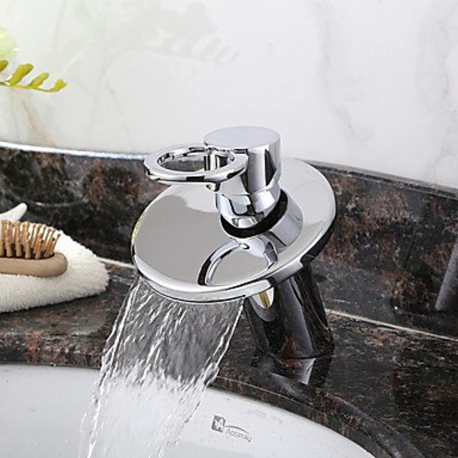 AA Faucet£? Brass contemporary waterfall bathroom sink faucet