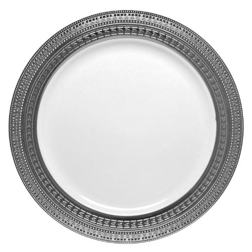 "Decor Elegant Disposable Premium Heavy Weight Dinnerware, Symphony Silver & White, 10 count, (Dinner Plate 10.25"")"
