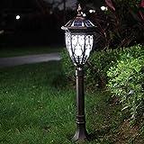 Lámpara de césped solar LED Jardín de época europeo Luz de columna impermeable Lámpara de poste alto Villa residencial Patios Gazebo Balcón Energía solar Lámpara de poste Pasarela Iluminación de pais