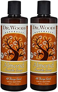 Dr. Woods Pure Almond Liquid Castile Soap, 16 Ounce (Pack of 2)