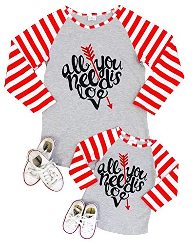Mommy and Me Family Matching Striped Long Sleeve T-Shirt Tops Mother Daughter Printed Valentine's...