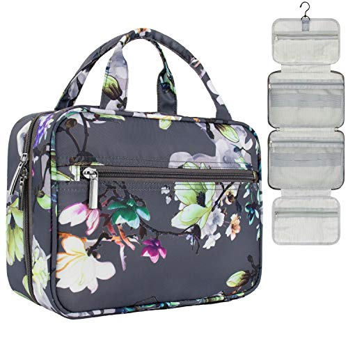 PAVILIA Hanging Travel Toiletry Bag Women | Bathroom Toiletry Organizer Kit for Cosmetics Makeup | Dopp Kit Hygiene Bag for Shaving Shower (Grey Floral)