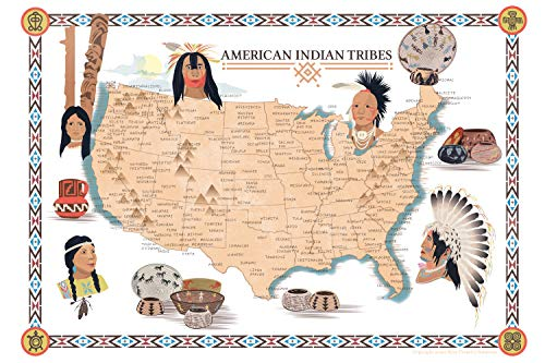 Riley Creative Solutions Native American Indian Tribe Map USA Gifts for History Lovers Classroom Poster Territory Tribal Spirit Nation. Wall Art Home Decor (11