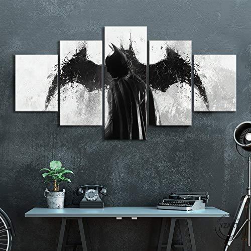 VENDISART,Leinwanddrucke,Modulare Wandkunst Wandaufkleber,5 Teiliges Wandbild,Dunkler Ritter Batman,Mit Rahmen,Größe:M/B=150Cm,H=80Cm