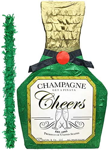 """Champagne Bottle Pinata with stick - 17"""" X 10.5"""" X 4.5"""" Perfect for 21st Birthday decorations, Graduation, New Years and Wedding photo prop - Fits candy/party favors: by Get a pinata"""