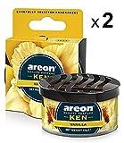 AREON Ken Ambientador Vainilla Coche Aire Olor Dulce Lata Debajo Asiento Amarillo 3D (Pack de 2)