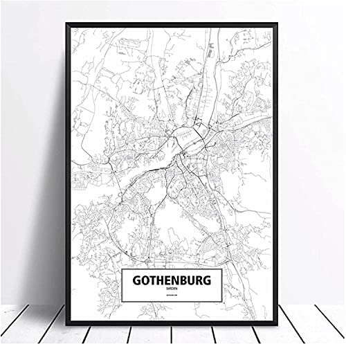 Abaabul Göteburg, Sverige svart vit anpassad värld stad karta affisch canvas tryck väggkonst heminredning – 50 x 70 cm ingen ram