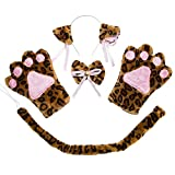 Costume Cat Cosplay Set - 4Pcs Kitten Tail Ears Collar Paws Gloves Lolita Gothic Set (Leopard)