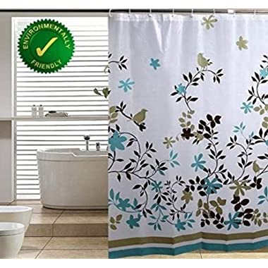 Blu-Pier Decorative PEVA Mildew Free Water Repellant Shower Curtain 72x72 Comes with 12 Hooks (Birds and Leaves)
