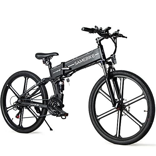 SAMEBIKE LO26-II Version Mise à Niveau vélos électriques 500W 48V 10AH vélos de Montagne électriques Pliants Adultes avec écran LCD Couleur 26 Pouces (Noir)