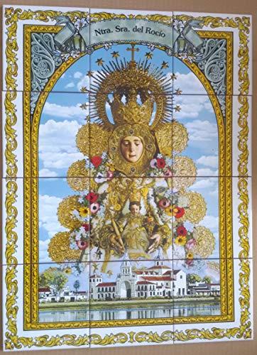 Rustiluz Azulejo religioso de la Virgen del Rocío de 45 x 60 cm