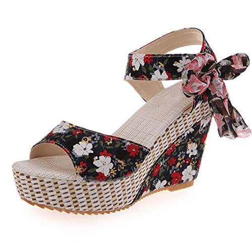 Mujeres Imprimir Flores Sandalias de Verano Cintas de Proa Plataforma cuñas Zapatos...