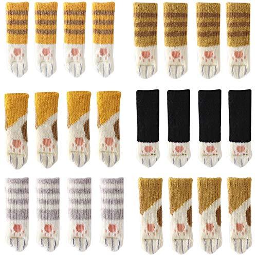 Co-link 24 Calcetines de Punto para Silla con diseño de Patas de Gato, 6 Patas, antiarañazos, antiruido, Protectores de Piso para Patas de sillas