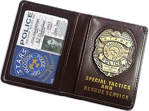Resident Evil Biohazard S.T.A.R.S RPD Ausweishalter Leder Geldbörse Jill Valentine ID Halter Chris Leon Wesker Cosplay Commuter Pass Halter mit Metall Badge