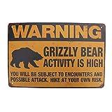 TG,LLC Treasure Gurus Metal High Grizzly Bear Activity Warning Sign Beware Caution Hunting Cabin Outdoor Wall Decor
