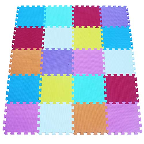 qqpp Alfombra Puzzle para Niños Bebe Infantil - Suelo de Goma EVA Suave. 20 Piezas (30*30*1.0cm), Blanco, Naranja, Rosa, Amarillo, Azul, Verde, Rojo, Morado. QQC-ABCEGHIKb20N