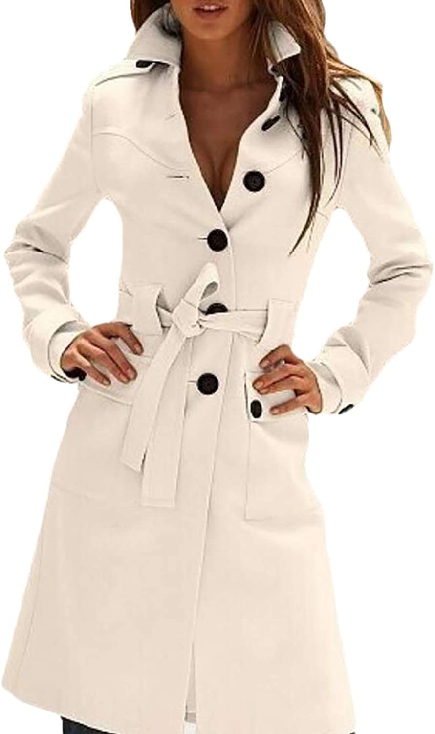 UUYUK Women Slim Fit SingleBreasted Wool Blend Trench Coat with Belt