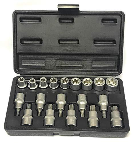 Alkan Steckschlüssel-Satz und Bit Schraubenschlüssel-Einsätze für innen/aussen Torx Schrauben - E-Profil E10-E24 Steck-Nüsse und T-Profil Bits T20-T70 - CV-Stahl-Nuss, 19 tlg.