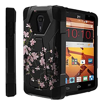 Untouchble [Compatible with ZTE Quest Hard Case  ZTE Ultra N817 Case] Kickstand Case Shock Absorbing Drop Protection Dual Layer Case - Pink Cherry Blossoms