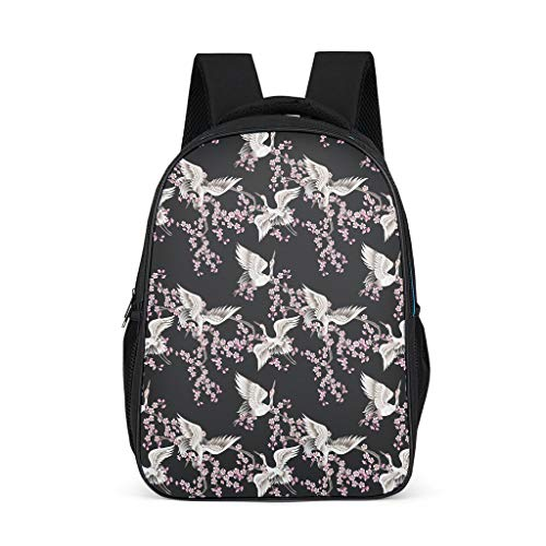 Unisex Children's School Backpack Cherry Blossom Birds Cranes Children's Backpack Travel Backpack Daypacks with Widths and Comfortable Straps