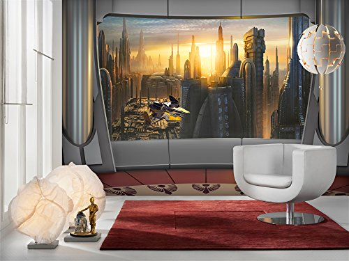 Komar - Fototapete STAR WARS CORUSCANT VIEW - 368 x 254 cm - Tapete, Wand, Dekoration, Wandbelag, Wandbild, Wanddeko, Sonnenuntergang, Wolkenkratzer - 8-483