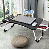Laptop Desk with Drawer, Astoryou Portable Laptop Bed Tray Table Notebook Stand Reading Holder with Foldable Legs & Cup Slot for Eating Breakfast, Reading Book, Watching Movie on Bed/Couch (Black)