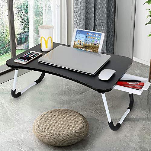 Astory Escritorio para computadora portátil con cajón con patas plegables y ranura para taza para el piso del sofá Negro