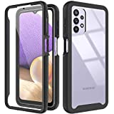 PUXICU Compatible with Samsung Galaxy A32 Case, Built-in Touch Sensitive Anti-Scratch Screen Protector, Full Body Rugged Shockproof Cover Shell-(Black and Clear)