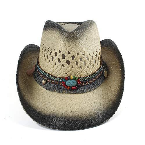 YUXINXIN Natural Straw Cowboy Hat Women's Sombrero Hoed Tassel Dames Solid Color Big Beach Summer Sun Hat (Color : 1, Size : 56-58)