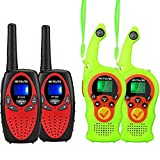 Retevis RT628 Walkie Talkies for Kids,Long Range 2 Way Radio Gift for Boys and Girls(Red, 2 Pack)and Retevis RT75 Kids Walkie Talkies, Kids Toys Gifts for Kids with Compass Flashlight (Green, 2 Pack)