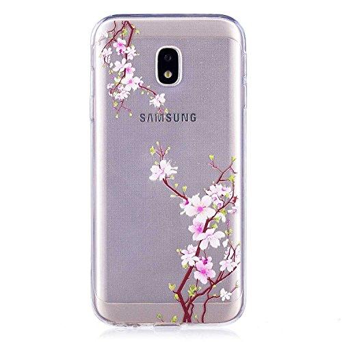DENDICO Cover Galaxy J3 2017, Trasparente Sottile Custodie Protettivo in Silicone per Samsung Galaxy J3 2017, Protezione Antiurto Paraurti Cover - Fiore di Prugna