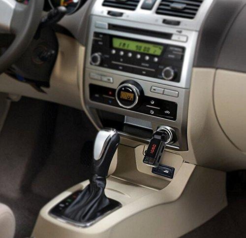Shop-STORY - Kit manos libres inalámbrico Bluetooth 2.0 con transmisor de radio FM para reproductor de música MP3 y comunicación telefónica con cargador doble USB en encendedor de cigarrillos