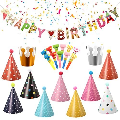 Xinstroe 23 Pezzi Cappellini Festa Compleanno, Cappelli Corona per Bambini Adulto,Striscioni Compleanno, Partito Trombette Fischietto Decor Festa(Motivo a Stella)