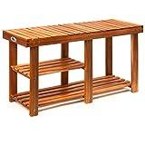 Deuba Schuhregal Schuhschrank mit Sitzbank Holz 3 Ebenen 87 x 45 x 26 cm 200kg Belastbar Schuhablage Holzregal Bad Regal