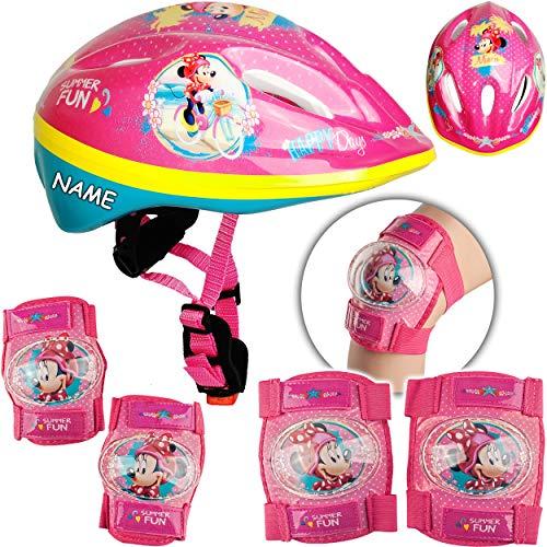 alles-meine.de GmbH 5 TLG. Set: - Sicherheitsset - Kinderhelm / Fahrradhelm - Disney - Minnie Mouse - Gr. 52 - 56 - Circa 3 bis 15 Jahre - Größen verstellbar / mitwachsend - TÜV ..