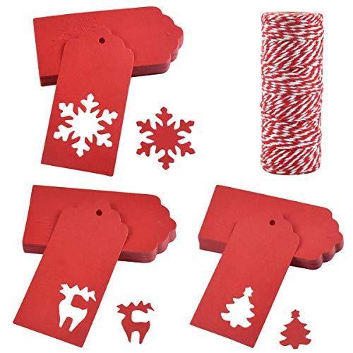 100pcs Etiquetas Regalo para Navidad, 9,5 x 4 cm Etiquetas para Tarjetas Navidad, 3 Formas Etiquetas Envolver Navidad con Cuerda 50 m para Decoración Colgante Navideña árbol,Envoltura de Regalos