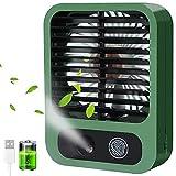 VKTEN Portable Fan, Spray Water Mist Fan, Super Quiet USB Desk Fan 3000mAh Rechargeable Personal Mister Fan with 3 Speeds, 4-15 Working Hours for Office, Travel, Outdoors, Hiking, Camping (Green)