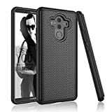 Njjex for Huawei Mate 10 Pro Case, for Mate 10 Pro Cute Case, [Nveins] Shockproof Hybrid Dual Layers Hard Back + Soft Silicone Rubber Impact Armor Defender Rugged Cover for Mate 10 Pro 2017 [Black]