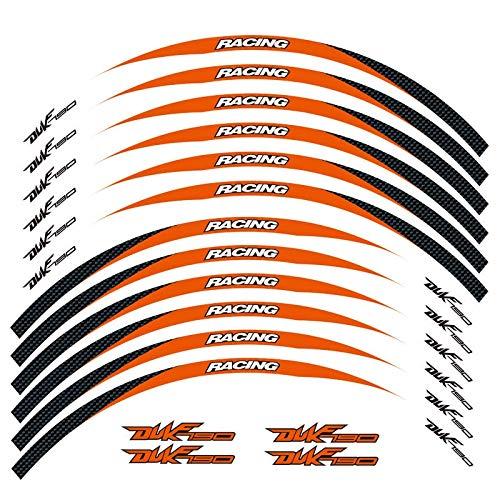 bazutiwns Un Conjunto de calcomanías de Ruedas de Motocicleta de 12 unids Impermeable Reflectante Pegatinas rimas de llanta para KTM Duke 790 HSLL (Color : Orange)