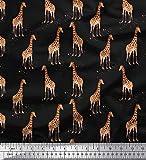 Soimoi Schwarzer Baumwoll Voile Stoff Dot & Giraffe Animal