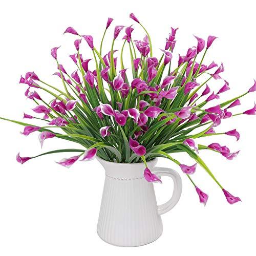Takefuns 4 arbustos Artificiales de plastico de imitacion para Plantas Verdes, arreglos Florales para el hogar, Cocina, Comedor, jardin, plastico, Rosy-4pcs, Rosy-4pcs