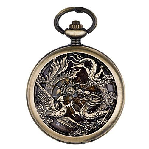 Reloj de Bolsillo, Dragón y Fénix, Movimiento automático Reloj de Bolsillo Grabado Boda Retro Flip Pareja Relojes mecánicos Reloj de Bolsillo de Estilo Chino. (Color: 2)