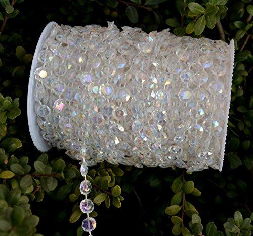 Ictronix 30m/rotolo fai da te per filo catena cristallo matrimonio natale ghirlanda/acrilico perline Tenda Ghirlanda con Perle decorazione festa di nozze di Natale