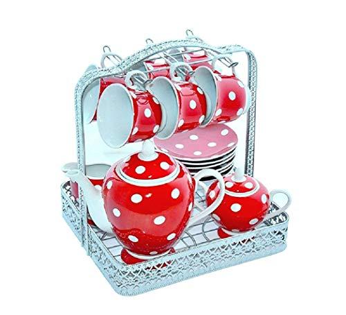 GELA Kaffee & Tee-Set Punkte 15 TLG. rot/weiß gepunktet auf einem Metallständer.